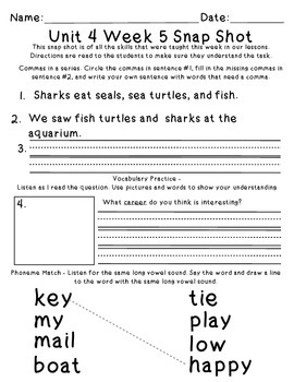 Reading Wonders 1st Grade Unit 4 Week 5 Weekly Assessment