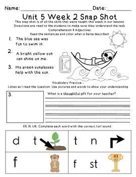 Reading Wonders 1st Grade Unit 5 Week 2 Weekly Assessment