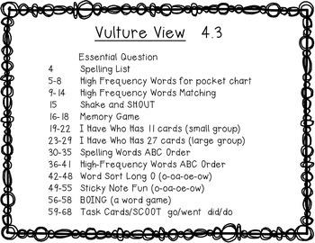Reading Wonders 1st Grade Vulture View 4.3 {10 Literacy Activities}