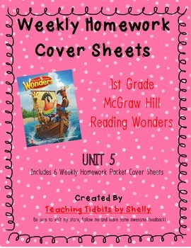 Reading Wonders - 1st Grade Weekly Homework Cover Sheets - Unit 5