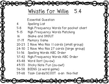 Reading Wonders 1st Grade Whistle for Willie 5.4 {10 Literacy Activities}