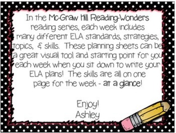 Reading Wonders 1st grade Weeks at a Glance