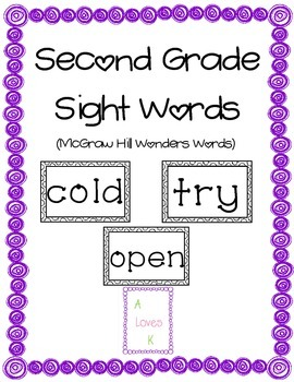 Reading Wonders 2nd Grade Sight Words
