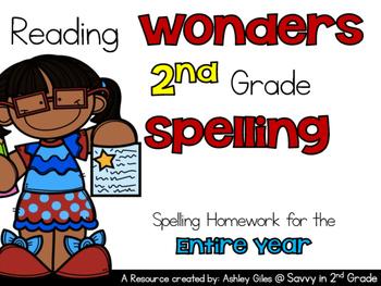 Reading  Wonders 2nd Grade  Spelling Homework for the  Ent
