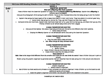 McGraw-Hill Reading Wonders 2nd Grade UNIT 2 WEEK 4 Whole Group Plans