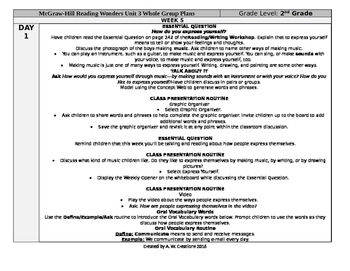McGraw-Hill Reading Wonders 2nd Grade UNIT 3 WEEK 5 Whole Group Plans