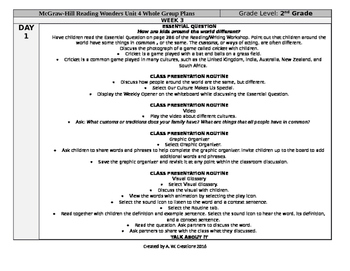 McGraw-Hill Reading Wonders 2nd Grade UNIT 4 WEEK 3 Whole Group Plans