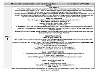 McGraw-Hill Reading Wonders 2nd Grade UNIT 5 WEEK 1 Whole Group Plans