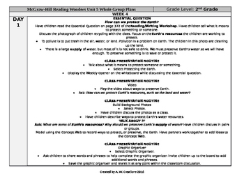McGraw-Hill Reading Wonders 2nd Grade UNIT 5 WEEK 4 Whole Group Plans