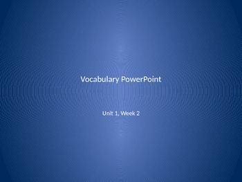 Reading Wonders 2nd Grade Vocabulary PowerPoint Unit 1, Week 2