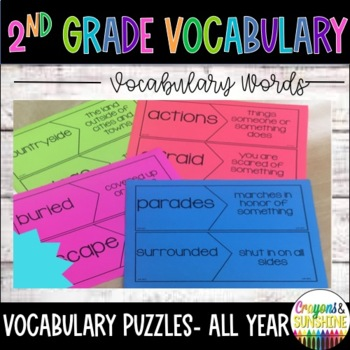 Reading Wonders 2nd Grade Vocabulary Puzzles Units 1-6 BUNDLE