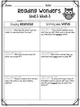 Reading Wonders 3rd Gr Const. Response Worksheets Bundle Unit 1-6 - Fla. LAFS