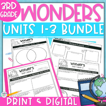 Reading Wonders 3rd Gr Constructed Response Worksheets Bundle Unit 1-3