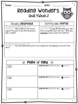 Reading Wonders 3rd Grade Constructed Response Worksheets Unit 4 - Fla. LAFS