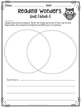 Reading Wonders 3rd Grade Constructed Response Worksheets Unit 3 - Florida LAFS