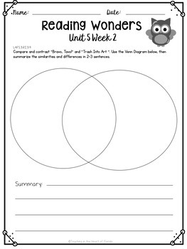 Reading Wonders 3rd Grade Constructed Response Worksheets Unit 5 - Fla. LAFS