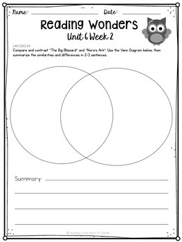 Reading Wonders 3rd Grade Constructed Response Worksheets Unit 6 - Florida LAFS