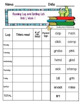 Reading Wonders 3rd Grade Reading Log and Spelling List (U