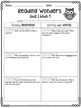 Reading Wonders 3rd Grade Constructed Response Worksheets Unit 1 - Florida LAFS