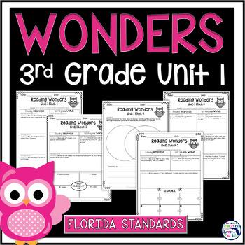 Reading Wonders Unit 1 Constructed Response Worksheets - Gr. 3 - Fla. LAFS