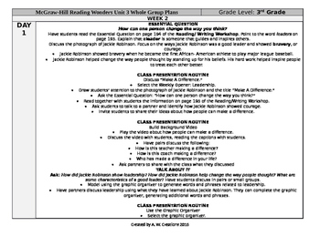 McGraw-Hill Reading Wonders 3rd Grade UNIT 3 WEEK 2 Whole Group Plans