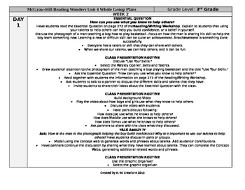McGraw-Hill Reading Wonders 3rd Grade UNIT 4 WEEK 2 Whole Group Plans