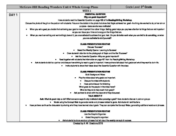 Reading Wonders 3rd Grade UNIT 6 WEEK 3 Whole Group Plans