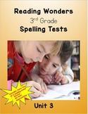 Reading Wonders 3rd Grade Unit 3 Spelling Tests