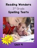 Reading Wonders 3rd Grade Unit 4 Spelling Tests