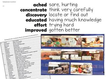 Reading Wonders 3rd Grade Vocabulary, Student Friendly