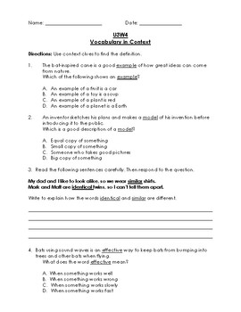 Reading Wonders 3rd Grade Vocabulary in Context Unit 3 Bundle (Tests)