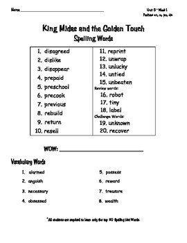 Reading Wonders 3rd grade Spelling WordLists Unit 6 Weeks 1-5