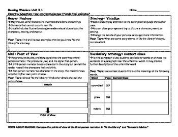 Reading Wonders 4th Grade Skills Sheet Unit 3 Week 1