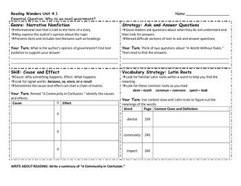 Reading Wonders 4th Grade Skills Sheet Unit 4 Week 1