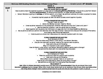 Reading Wonders 4th Grade UNIT 3 WEEK 4 Whole Group Plans