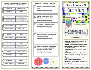 Reading Wonders 4th Grade Unit 2 Vocabulary/Spelling Trifold