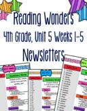Reading Wonders 4th Grade Unit 5 Weeks 1-5 Newsletters