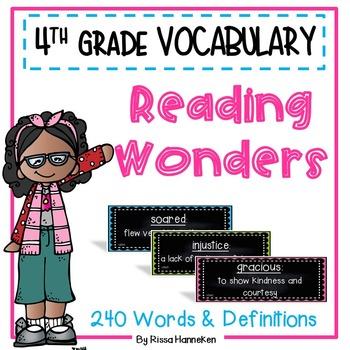 Reading Wonders 4th Grade Vocabulary Cards