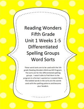 Reading Wonders 5th Grade Differentiated Spelling Word Sorts Unit 1
