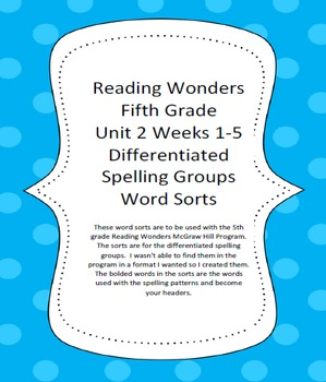 Reading Wonders 5th Grade Differentiated Spelling Word Sorts Unit 2