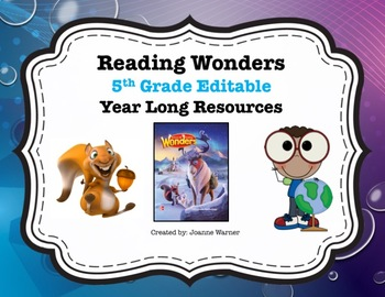 Reading Wonders 5th Grade Editable Year Long Review