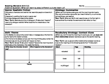 Reading Wonders 5th Grade Skills Sheet Unit 3 Week 1