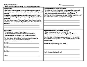 Reading Wonders 5th Grade Skills Sheet Unit 4 Week 5