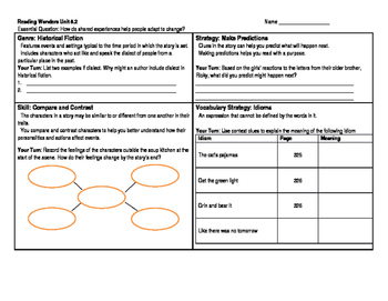 Reading Wonders 5th Grade Skills Sheet Unit 5 Week 2
