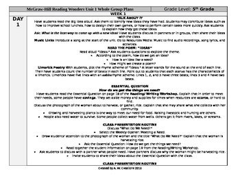McGraw-Hill Reading Wonders 5th Grade UNIT 1 WEEK 1 Whole Group Plans