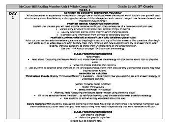 Reading Wonders 5th Grade UNIT 1 WEEK 3 Whole Group Plans