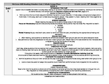 Reading Wonders 5th Grade UNIT 1 WEEK 6 Whole Group Plans