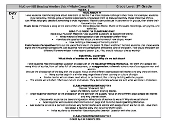 McGraw-Hill Reading Wonders 5th Grade UNIT 4 WEEK 1 Whole Group Plans