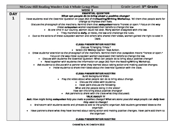 McGraw-Hill Reading Wonders 5th Grade UNIT 4 WEEK 3 Whole Group Plans