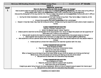 McGraw-Hill Reading Wonders 5th Grade UNIT 5 WEEK 2 Whole Group Plans